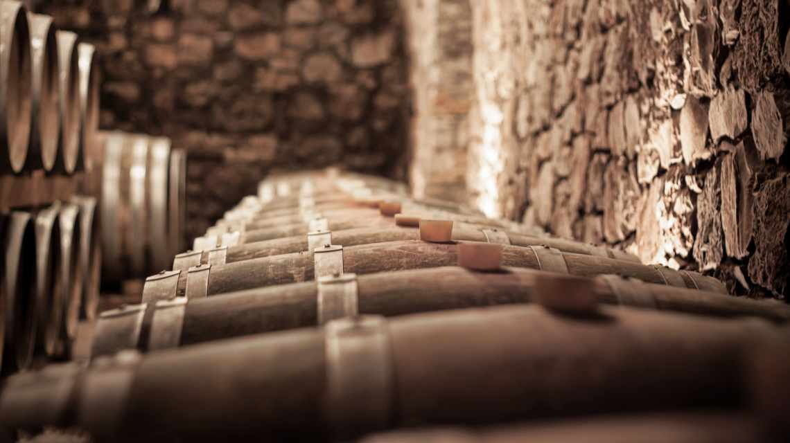 Abstract blurry background of wine cellar